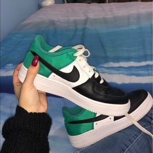 Black Green and White Air Force Ones